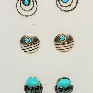 NATIVE AMERICAN 925 SILVER AND TURQUOISE EARRINGS